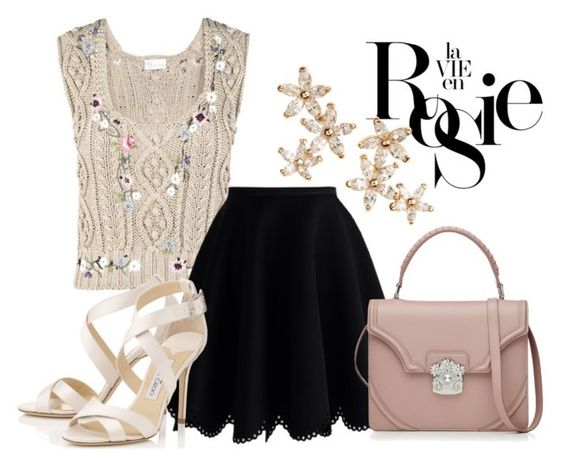 """Rosie"" by polimica ❤ liked on Polyvore featuring RED Valentino, Chicwish, Jimmy Choo, Alexander McQueen, Whiteley and Bonheur"