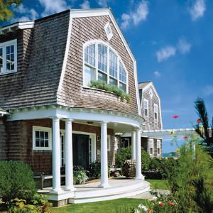 Love Nantucket style homes with shingle siding and white trim...