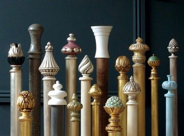Curtain poles finished with a finial flourish