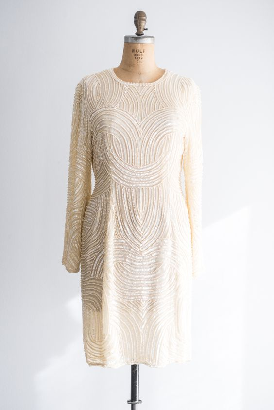 1980s Cream Silk Geometric Beaded Dress - M/L