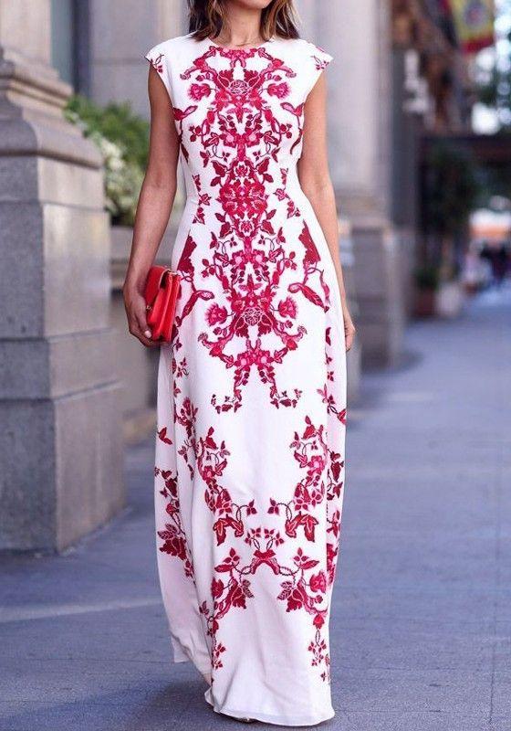White Red Flowers Print Elegant Chiffon Maxi Dress - Flower prints ...
