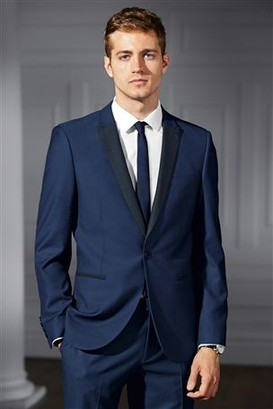 Buy Blue Peak Lapel Slim Fit Suit: Jacket from the Next UK online