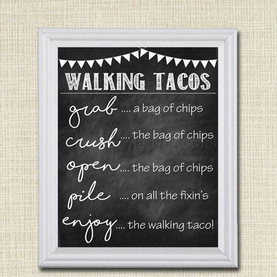 Walking Tacos Sign, Walking Taco Bar, DIY Taco Bar, Make Your Own Tacos Printable Sign, INSTANT DOWNLOAD, Cinco De Mayo, Wedding Food Trucks