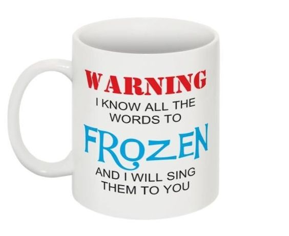 Disney Frozen 11oz. Coffee Mug Tea Cup Disneyland Magic Kingdom World Olaf Elsa  'Warning I know all the words to Frozen and I will sing them to you'