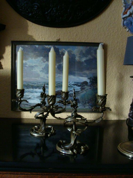 2 Rokoko Bronze Leuchter Kerzenhalter Kerzenstander Beisteller 1890 Historismus Candle Sconces Wall Lights Light