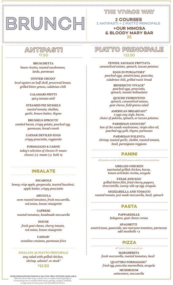Vivace Charlotte - Vivace Charlotte Italian Restaurant Brunch - italian menu