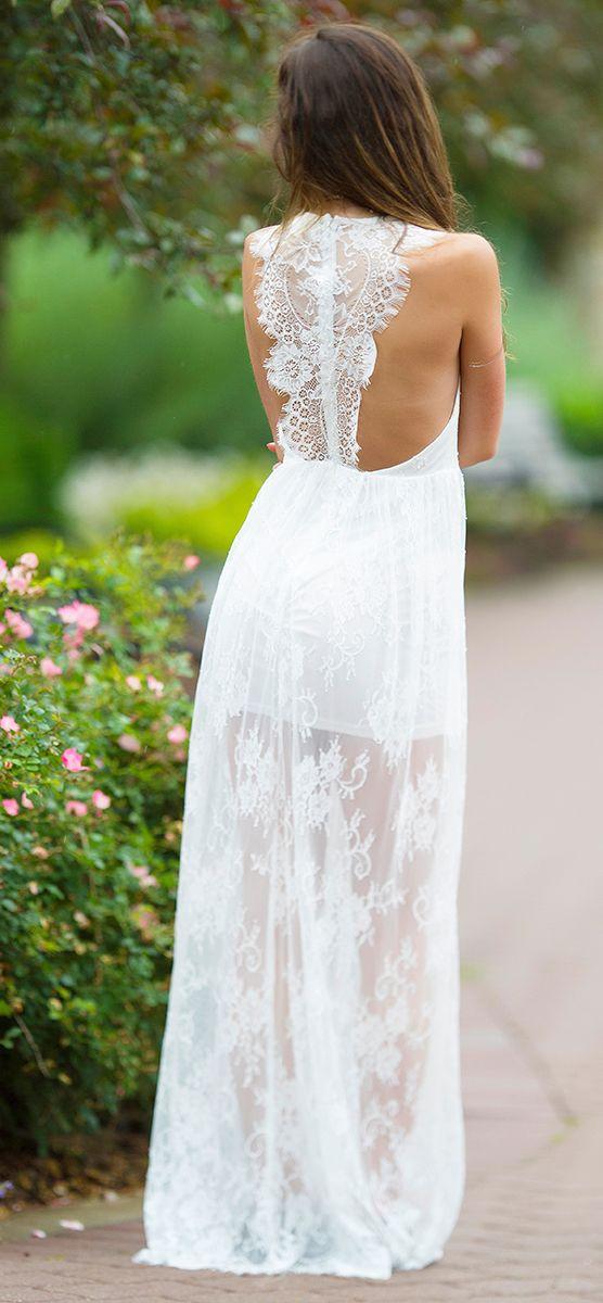 Fashion white lace maxi dress