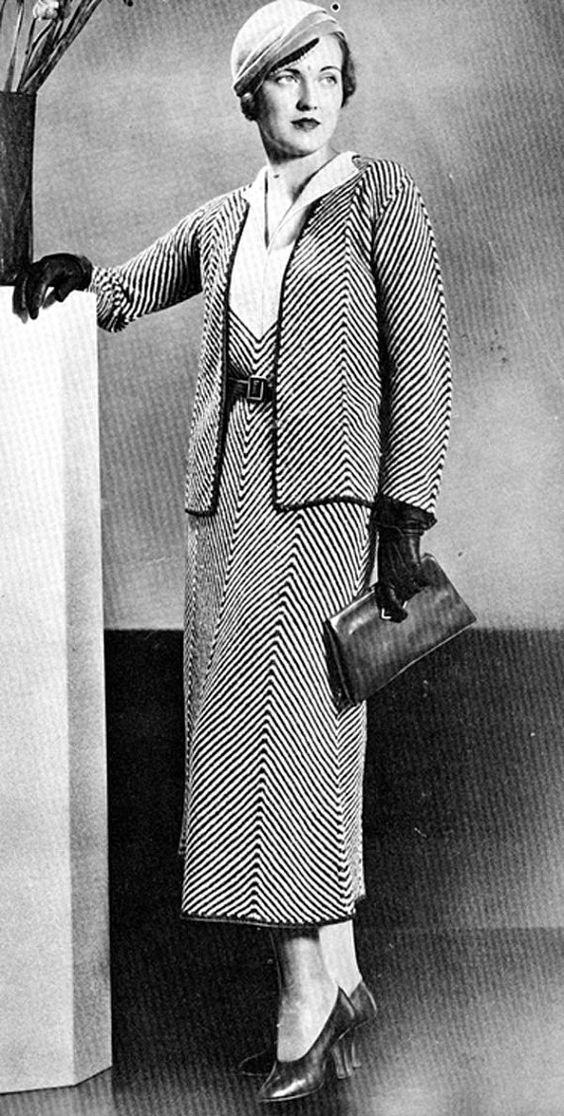 Vintage 1930s Dress Jacket Chevron Herringbone Stripe Knitting Pattern PDF 3208 30s size 16 Bust 34