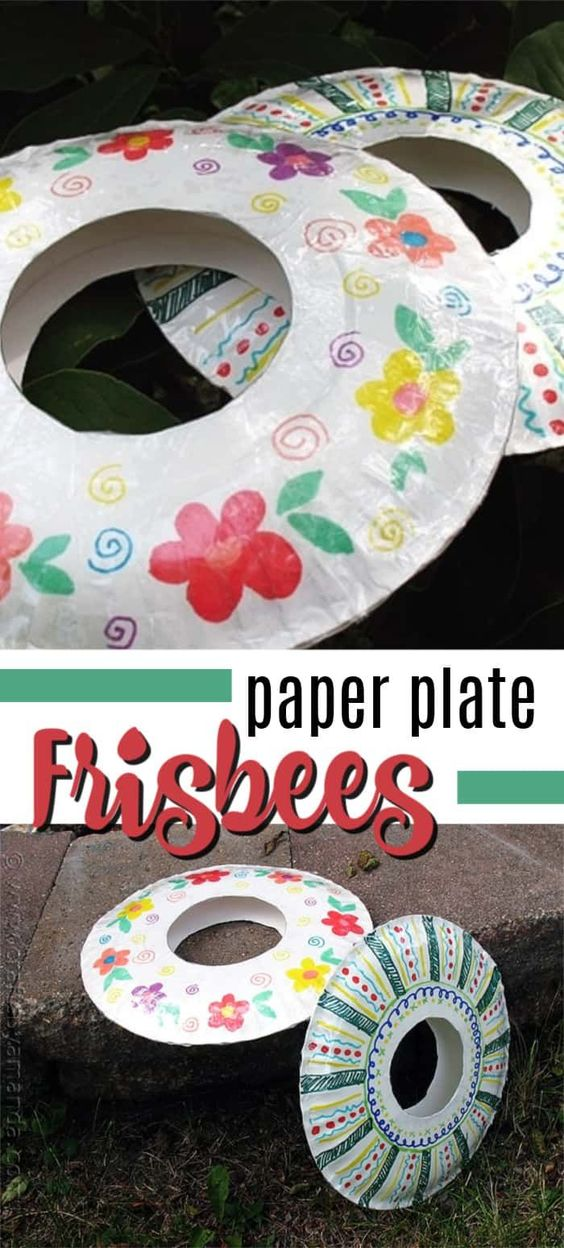 Turn ordinary paper plates into a fun frisbee! This paper plate frisbee craft is great for spring and summer! #frisbeecrafts #paperplatecrafts #craftsforkids #easycrafts #kidscrafts #summercrafts #craftsbyamanda