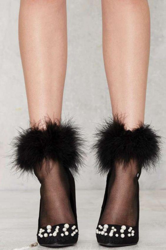 Feather Forecast Sheer Socks - Black - Accessories | Socks + Legwear | Party Shop | Fur | Gifts Under $50