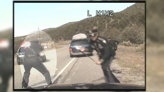 State cop shoots at minivan full of kids