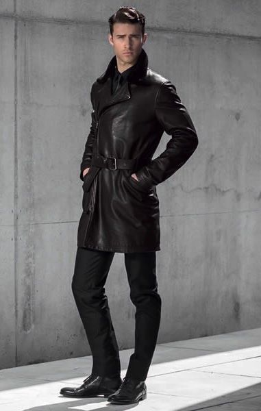 Men's Black Leather Trench Coat, Black Jeans, and Black Boots ...