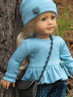 Teal fall outfit. Sewn by Shirley Fomby of Doll Clothes By Shirley