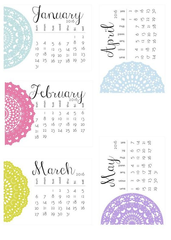 Pin for Later: 24 Free Printable Calendars For 2016 Delicate Doilies If delicate designs make your heart palpitate, print this calendar, stat.