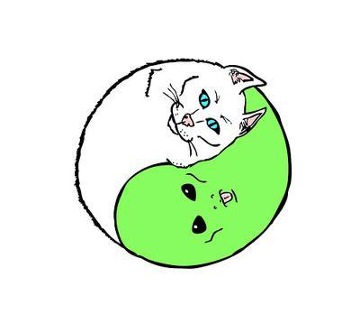 alien kitten yin yang