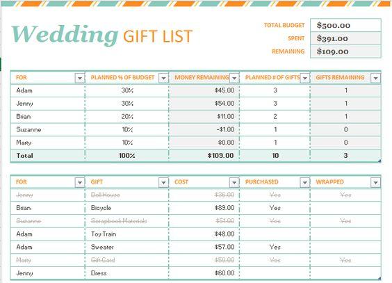 Wedding Gift List Template Templates Pinterest Wedding gift - wedding list template