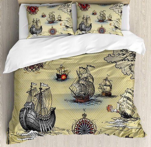 Compass Luxury Soft 4 Pieces Bedding Sets Antique Old Plan Discovery Ship Pirate Wave Compass Navigation Geograph Pirate Bedding Duvet Cover Sets Duvet Covers
