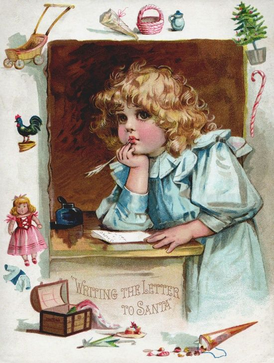 Vintage card - Writing the letter to Santa: