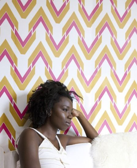 The Vibe: Saffron & Pink wallpaper from www.grahambrown.com