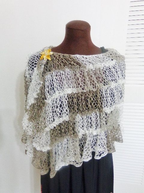 Free Crochet Patterns With Sashay Yarn : Crochet Sashay mesh yarn lightweight shawl by ...
