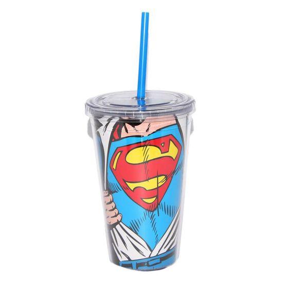 Copo Com Tampa e Canudo Superman Opening #Superman #LojaDCComics