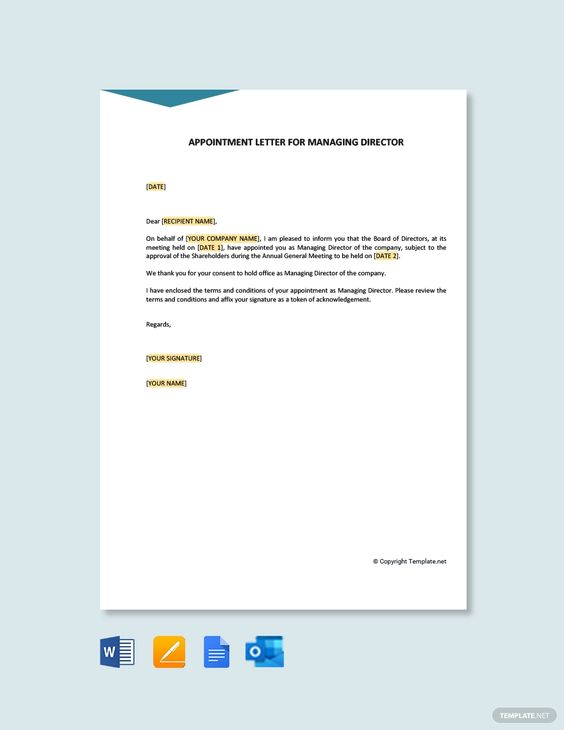Appointment Letter Template For Managing Director Free Pdf Word Doc Apple Mac Pages Google Docs Outlook Lettering Letter Templates Appointments