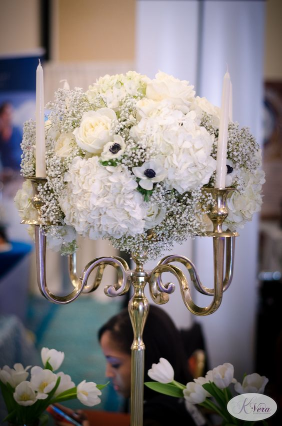 Black White And Gold Candelabra Centerpiece Classic Glam
