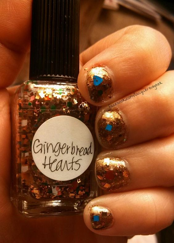 Base: Butter London - Scuppered Topper: Lynnderella - Gingerbread Hearts