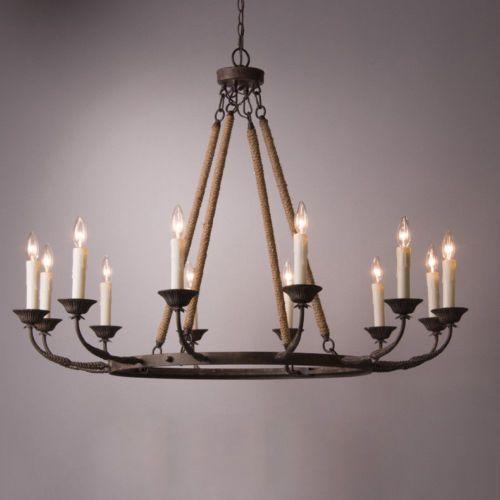 Vintage Flaxen Hemp Rope Metal 12 Light Round Candelabra Chandelier Pendant Lamp Ebay Candelabra Chandeliers Candle Chandelier Round Candle Chandelier