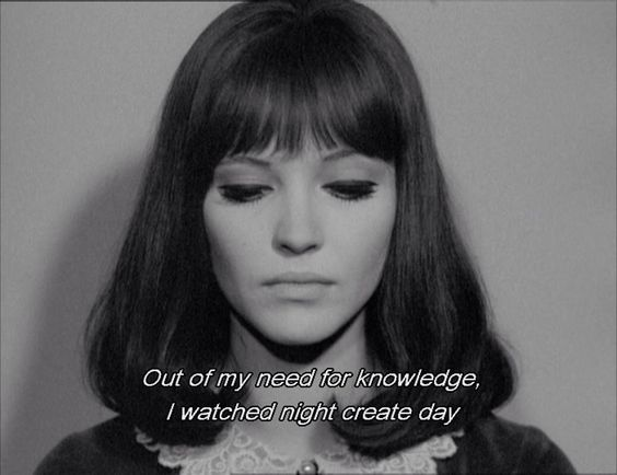 """""""out of my need for knowledge, i watched night create day"""" -Anna Karina in """"Alphaville"""""""