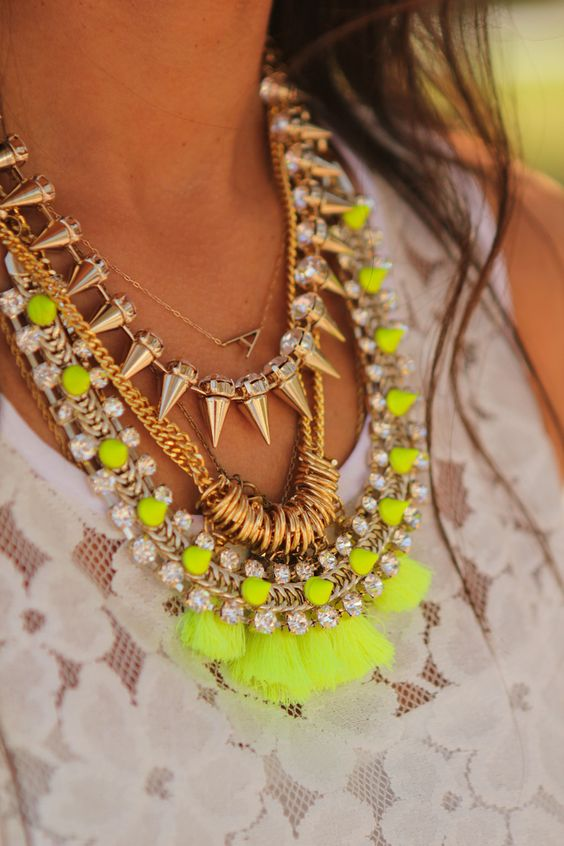 neon & gold layered necklaces