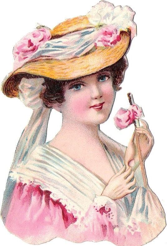 Oblaten Glanzbild scrap die cut chromo Dame lady Kopf  Hut hat Mädchen girl: