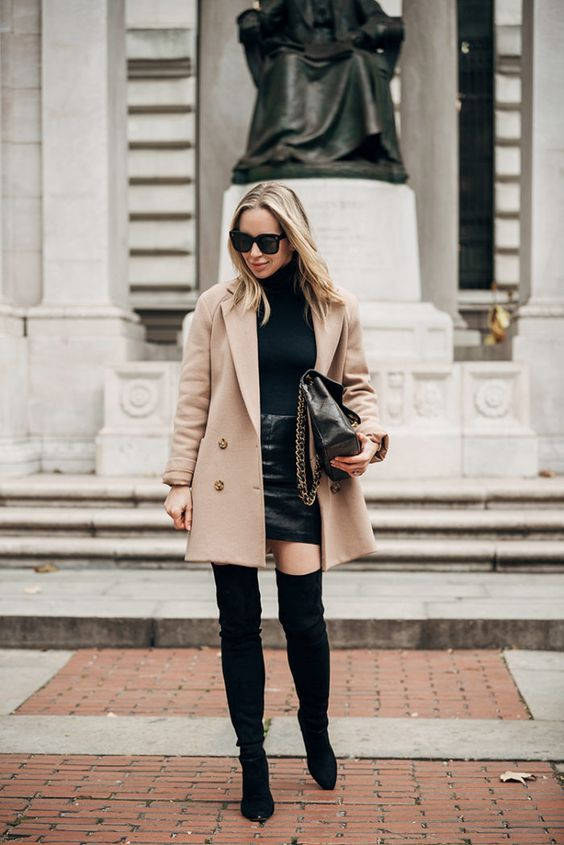 Date Night Outfit - black leather mini skirt, over the knee boots, black bodysuit, camel coat