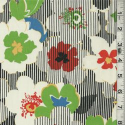 White Multi Floral Stripe Lawn