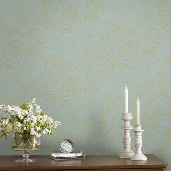 Tropic Aqua/Gold Wallpaper by Graham and Brown