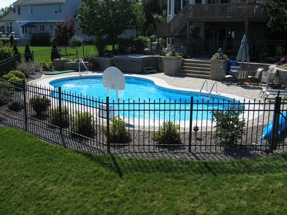 Style fence ideas and pool shapes on pinterest for In ground pool fence ideas