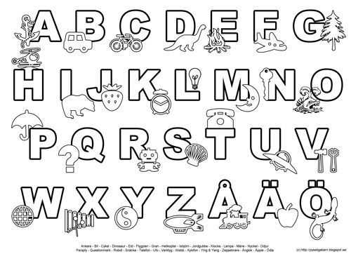 Pyssliga barn: Färglägga bokstäver och siffror | Bokstäver ...