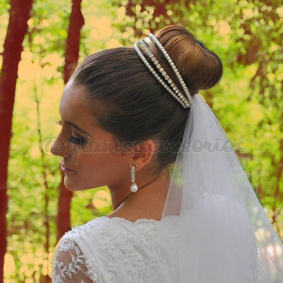 Tiara de Noiva - Porta coque de Noiva