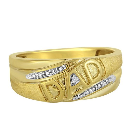 Day Gift Dad Ring Gift Men s 10K Yellow Gold Dad Ring Diamond