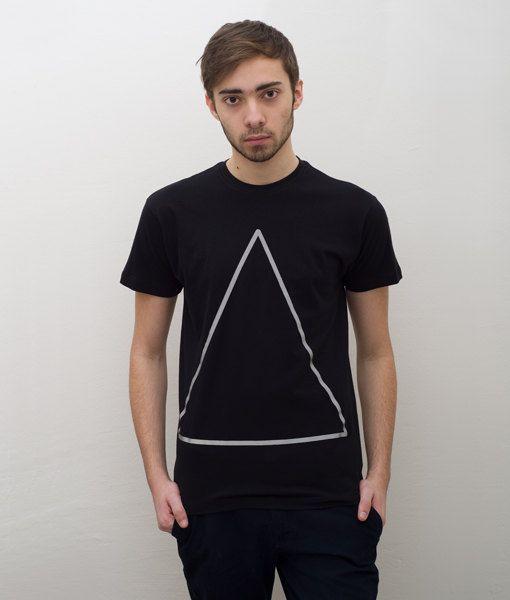 Black t shirt silver triangle illuminati unisex omni by Teever