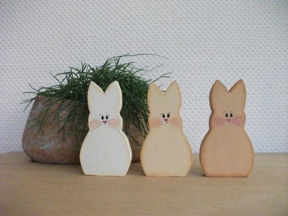 Osterdeko - Hasentrio 3- teilig Holz Ostern - ein Designerstück von SteffiMarten bei DaWanda