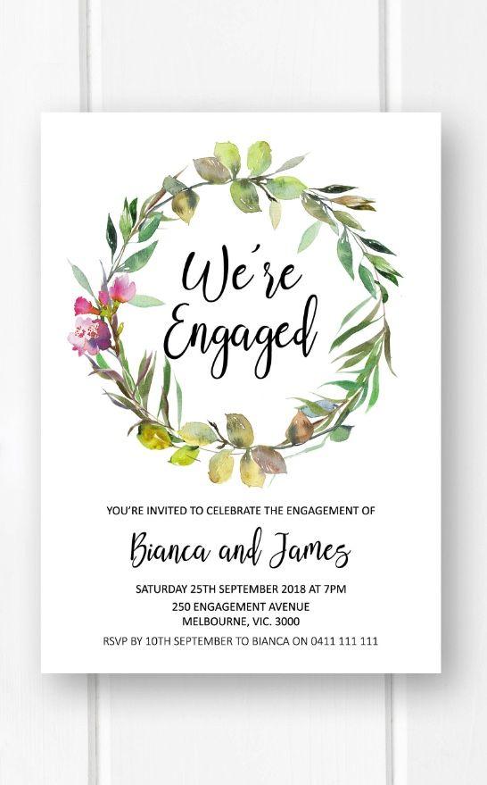 Greenery engagement invitations printable engagement party invitation heart in name engagement invite botanical engagement invites W14