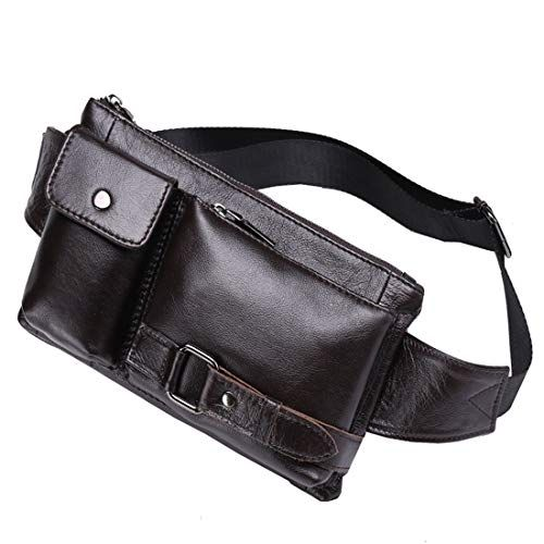 Color : Black RABILTY Mens Leather Casual Outdoor Travel Chest Shoulder Messenger Bag