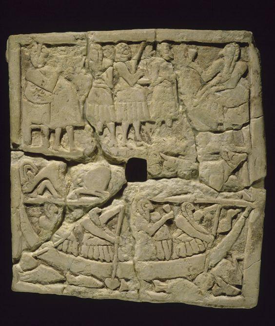 Bas-relief perforé orné de scènes de banquet  Vers 2700 - 2650 avant J.-C.  Mésopotamie  Calcaire