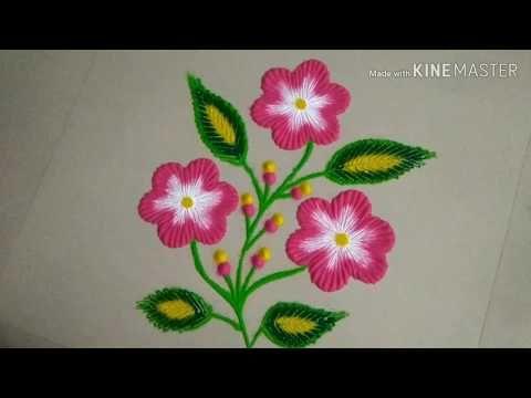 Very Easy Flower Plant Rangoli Designs By Aarti Shirsat Top Rangolis Youtube Rangoli Designs Planting Flowers Design