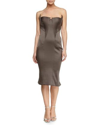 Fold-Pleated Bustier Dress by Zac Posen at Neiman Marcus.