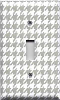 Silver/Gray/Grey & White Houndstooth Hand Made Light Switch Plates/Outlet Covers