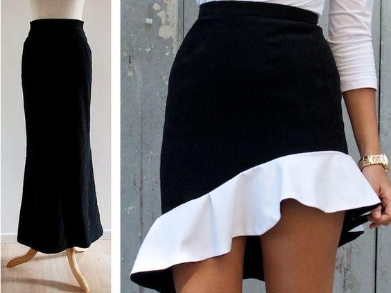 Saia curta com customização de saia longa.