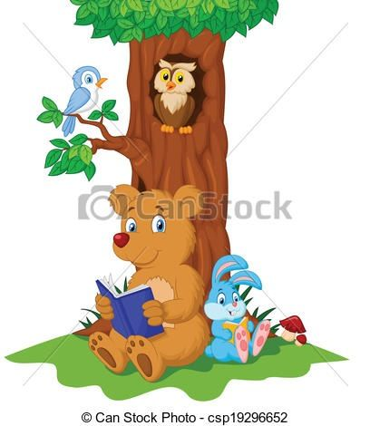 Forest animals reading