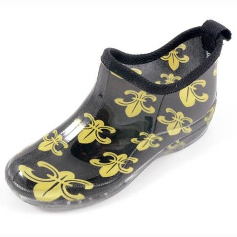 Corky&39s Stormy Black &amp Gold Fleur-de-Lis Rain Boot Shoes | Saints